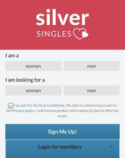 SilverSingles sign up